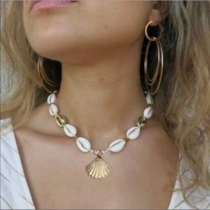 Gold Cowrie Shell Choker Necklace